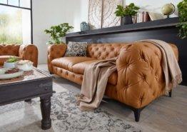 Sofa 3 Sitzer 225x97x73 hellbraun CHELSEA #148