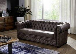 Sofa Chesterfield 203x86x72 dunkelbraun OXFORD