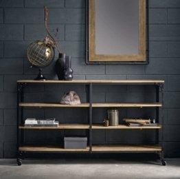 Spiegel aus Kautschukbaum-Holz und schwarzem Metall 80x120