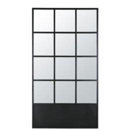 Spiegel in Fensteroptik aus Metall, schwarz 110x200