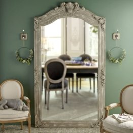 Spiegel mit Zierrahmen aus grauem Mangoholz 123x220