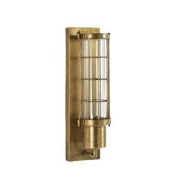 Wandleuchte mit goldfarbenem Metallgestell und Glasschirm