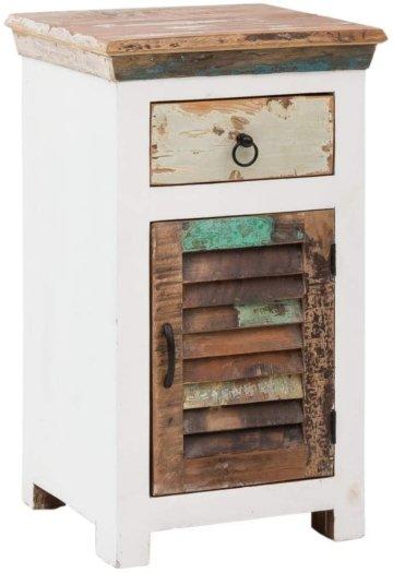 Woodkings® Bad Unterschrank Perth recyceltes Holz bunt rustikal Echtholz weiß massiv Badmöbel Badezimmerunterschrank Badschrank