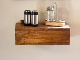 Woodkings® Wandboard mit Geheimfach recyceltes Holz braun-bunt rustikal Wandregal Nachttisch Schublade