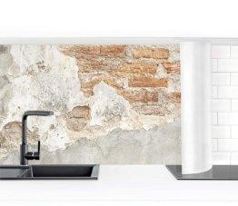 Küchenrückwand Folie selbstklebend Shabby Backstein Wand 60 x 400 cm Premium