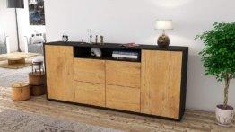 Sideboard Ephenia/Korpus anthrazit matt/Front Holz-Design Eiche (180x79x35cm)