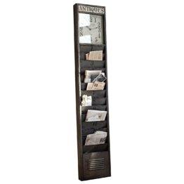 LOBERON Zeitungshalter Raleigh, antikgrau (8.5 x 36 x 190.5cm)
