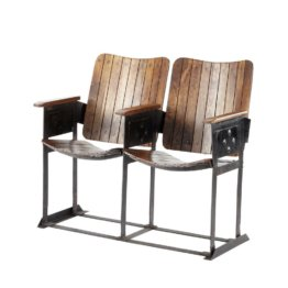 2-Sitzer Bank im Industrial-Stil aus Mangoholz antik Cinéaste