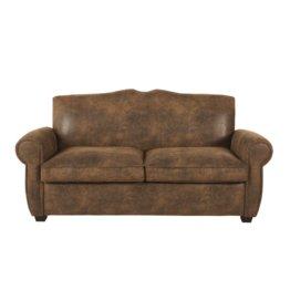 2-Sitzer-Sofa mit braunem Suedine-Bezug Moustache