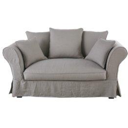 2-Sitzer-Sofa mit hellgrauem Leinen-Crinkle-Bezug Roma
