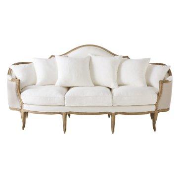 3/4-Sitzer-Bank mit weiß/hellbeigem Leinenbezug Clarisse