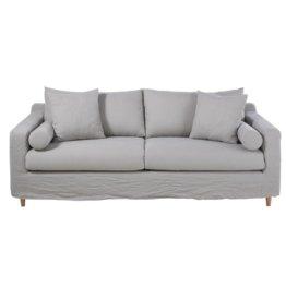 3/4-Sitzer-Sofa mit Bezug aus gewaschenem Leinen, hellgrau Francisco