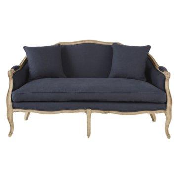 3-Sitzer-Bank mit grauem Leinenbezug Antoinette