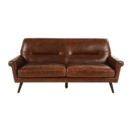 3-Sitzer-Vintage-Sofa, brauner Lederbezug Paolo