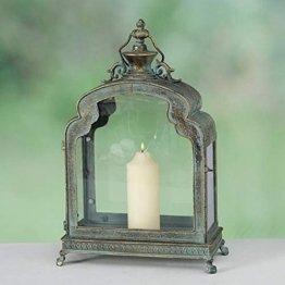 Laterne Antik Gold grün, Dekolaterne Metall, Windlicht Vintage, Kerzenhalter, Metalllaterne 52x35x18 cm
