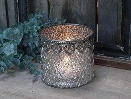 Chic Antique Teelichthalter Windlicht Kerzenglas groß 10,5 x 11,5 cm Glas Bauernsilber Deko Landhaus Nostalgie Shabby
