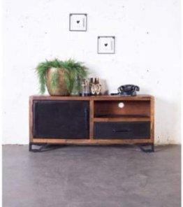 Industriedesign TV Möbel Alberto 135 cm Lowboard Akazienholz Metall schwarz