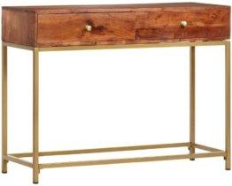 Akazienholz Massiv Konsolentisch mit 2 Schubladen Konsole Beistelltisch Frisiertisch Flurtisch Wandtisch Schreibtisch 100x35x76cm