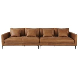 6-Sitzer-Sofa mit kamelfarbenem Lederbezug Patinson