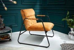 Retro Lounge Sessel Mustang Lounger senfgelb mit Ziersteppung