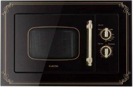 Klarstein Victoria 20 Einbau-Mikrowelle - Retro, 20 L, 800 W Mikrowellen-/1000 W Grillleistung, 3 Kombi-Funktionen, Edelstahl, inkl. Einbaurahmen, schwarz