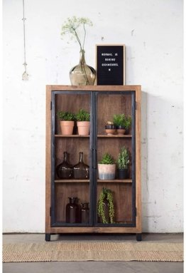 Vintage Vitrine Industrie NOA Metall Holz