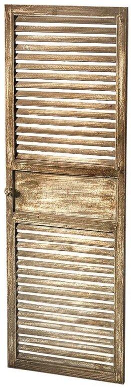 Deko-Fensterladen Zier-Fensterladen Tür mit Lamellen - 40x115 cm - Vintage - grau weiß