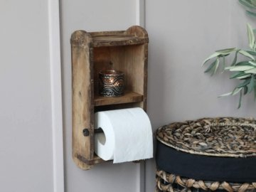 Chic Antique Wand- Toilettenpapier- Klorollen- Halter Ziegelform Holz