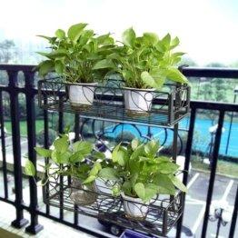 2-stöckiges Balkon-Blumenregal zum Aufhängen, Geländer, Pflanztöpfe für draußen,