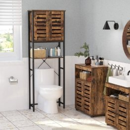 oilettenregal, Badezimmerregal, Badregal mit Stahlgestell, einfache Montage, Industrie-Design, 60 x 24 x 169,5 cm,
