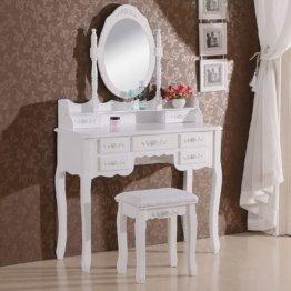 Kosmetiktisch Frisiertisch mit Spiegel und Hocker 7 Schubladen MDF und massives Kiefernholz Weiß 90 x 144,5 x 40cm