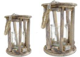 DEKO Holz-Laterne mit Kerzenglas und Seil-Griff 2er Set - S und L