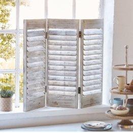 Fenster-Paravent - Shabby Chic - Holz - Antik Weiß
