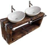 Waschbecken-Unterschrank Metall Holz Loft Handmade (Natur, 140 x 28 cm H=40 cm)
