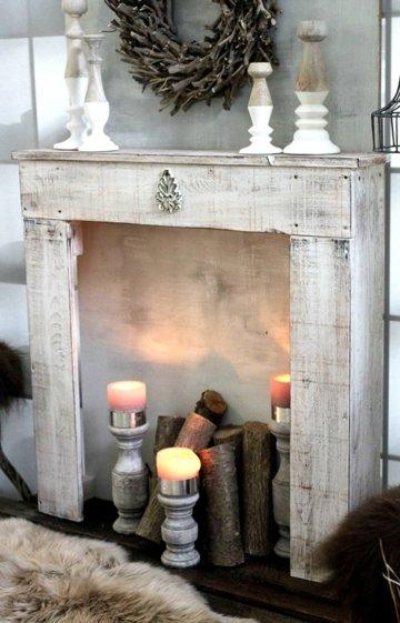 Kaminkonsole Dekokamin Kaminsims aus Holz   fertig montiert (Antik Weiß (Modell 1))
