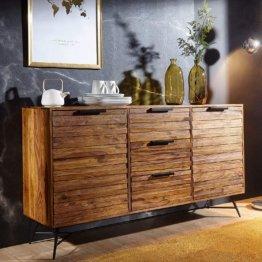 Sideboard Nasha 160x40x88 cm Sheesham Massiv Holz   Kommode mit Türen & Schubladen