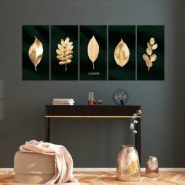 Akustikbild Pflanzen Gold 225x90 cm 5 Teilig Bilder Leinwandbilder