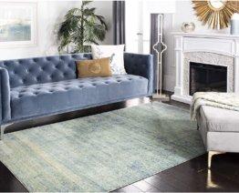 Safavieh Vintage Inspirierter Teppich, MYS920, Gewebter Polyester, Grün/Mehrfarbig, 90 X 150 cm