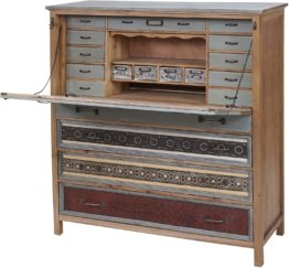 Sekretär  Kommode Schrank, Tanne Holz massiv Vintage Patchwork