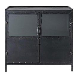 Anrichte im Industrial-Stil aus Metall mit teilverglasten Türen, B 87cm, schwarz Edison