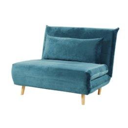 Ausklappbare 1-Sitzer-Bettbank, aus Samt, petrolblau Nio
