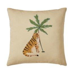 Baumwollkissen mit Tiger- und Palmenprint, beige 40x40