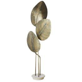 Blätter-Stehlampe aus silberfarbenem Metall und weißem Marmor H174