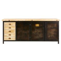 Büffet mit 3 Türen und 5 Schubladen aus schwarzem Metall massivem Mangoholz Colombus