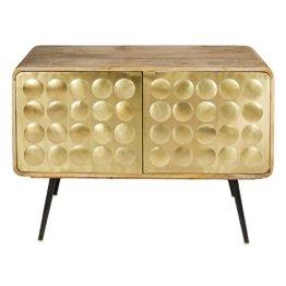 Buffet mit 2 Türen aus Metall mit vergoldetem Effekt Gatsby