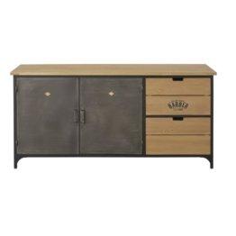 Buffet mit 2 Türen und 2 Schubladen aus Metall und massivem Tannenholz Harvey