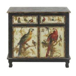 Buffet mit 2 Türen und 2 Schubladen, schwarz, bedruckt mit Papageimotiv Perroquet