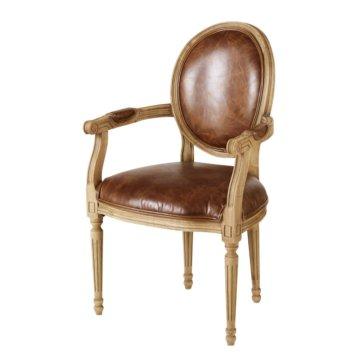 Cabriolet-Sessel aus braunem Leder in Alt-Optik Louis