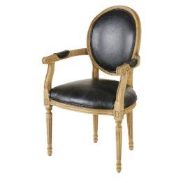 Cabriolet-Sessel aus schwarzem Leder in Alt-Optik Louis