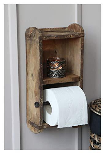 Chic Antique Wand- Toilettenpapier- Klorollen- Halter Ziegelform Holz -